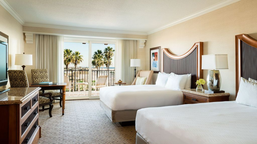 Room with two queen beds at the Hyatt Regency in Huntington Beach