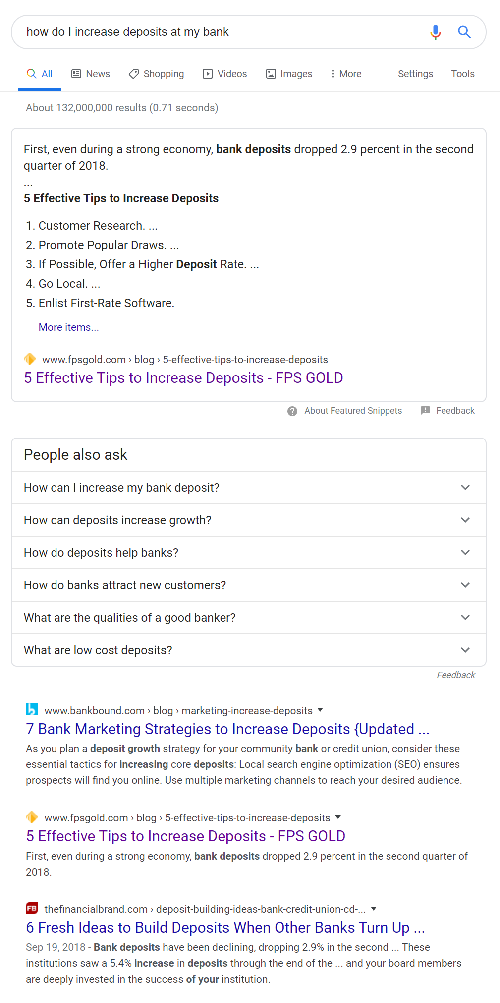 SERP for how do I increase deposits at my bank