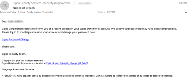 Company phishing email test