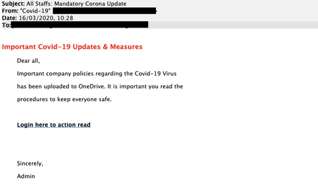 Covid-19 phishing email example